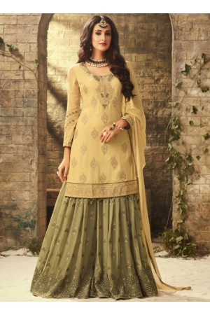 Yellow Green georgette wedding wear sharara 52004