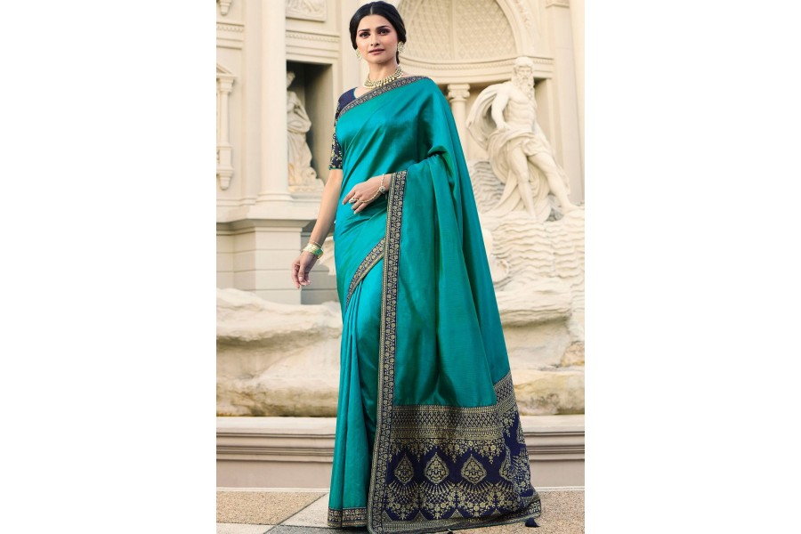 c40fe00c6e155f prachi desai blue banarasi silk saree with blouse 20761
