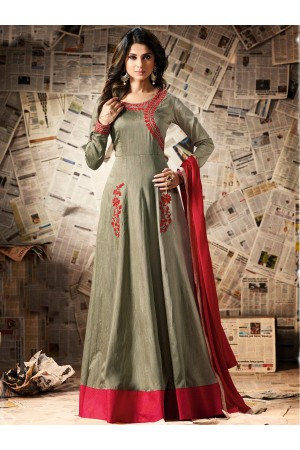 Grey color pure soft silk party wear anarkali kameez