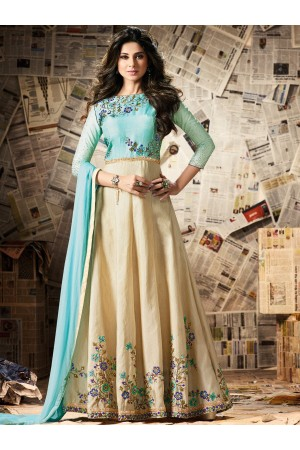 Beige and mint green color bangalori silk anarkali kameez