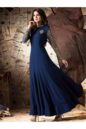 Navy blue color georgette party wear anarkali kameez