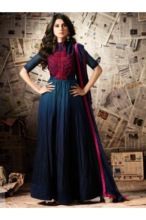 Blue color georgette party wear anarkali kameez