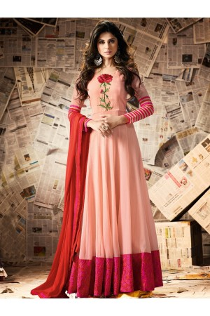 Peach color georgette party wear anarkali kameez
