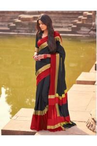 Aangi Blazing Black Festive Wear Cotton Saree