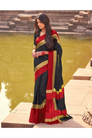 Aangi Blazing Black Festive Wear Cotton Saree