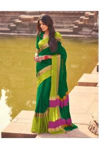 Aangi Emerald Green Festive Wear Cotton Saree