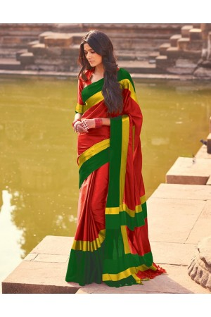 Aangi Flaming Red Festive Wear Cotton Sarees  Sarees