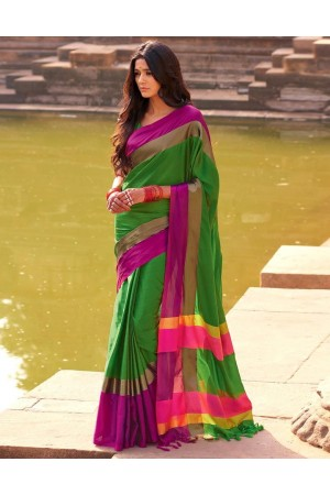Aangi Holy Green Festive Wear Cotton Saree