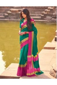 Aangi Ivy Green Festive Wear Cotton Saree