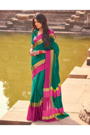 Aangi Ivy Green Festive Wear Cotton Saree