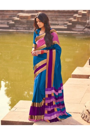 Aangi Plus Blue Cotton Wear Sarees