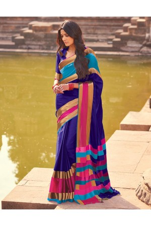 Aangi Plus Dark Blue Cotton Wear Sarees