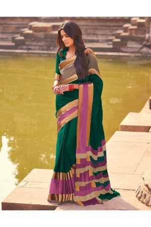 Aangi Plus Dark Green Cotton Wear Sarees