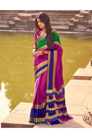 Aangi Plus Dark Pink Cotton Wear Sarees