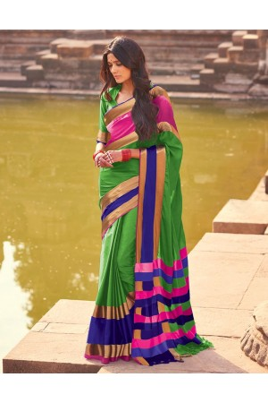Aangi Plus Green Cotton Wear Sarees