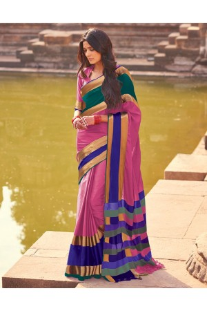 Aangi Plus Pink Cotton Wear Sarees