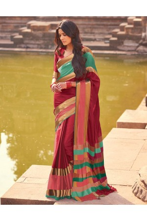 Aangi Plus Red Cotton Wear Sarees