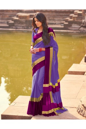 Aangi Soft Lavender Festive WearCotton Saree
