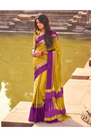 Aangi Sunshine Golden Festive Wear Cotton Saree