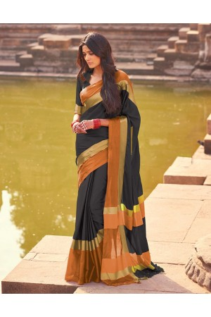Aangi Twilight Black Festive Wear Cotton Saree