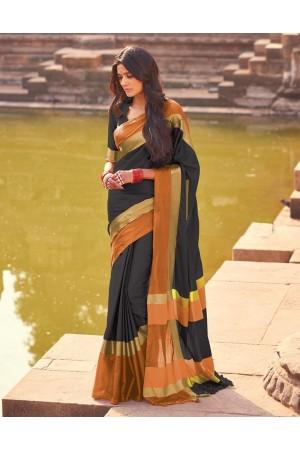 Aangi Twilight Black Festive Wear Cotton Saree