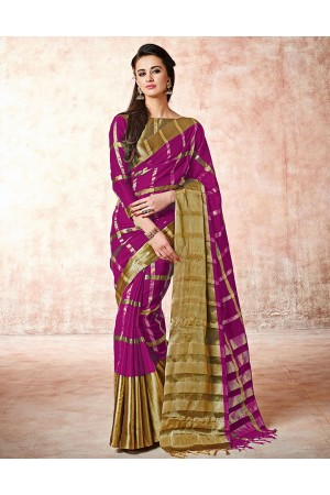 Aashi Blazing Magenta Cotton Saree