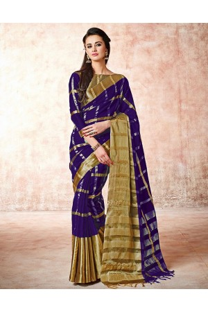 Aashi Bold Violet Cotton Saree