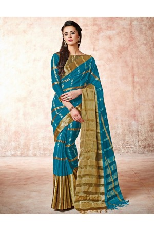 Aashi Peacock Blue Cotton saree