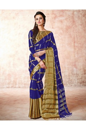 Aashi Royal Blue Cotton Saree   s