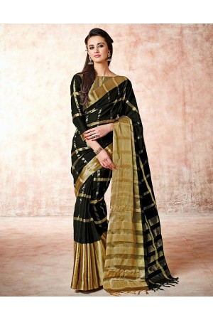 Aashi Smoky Black Cotton Saree
