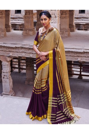 Abhirati Cerise Purple Cotton Saree