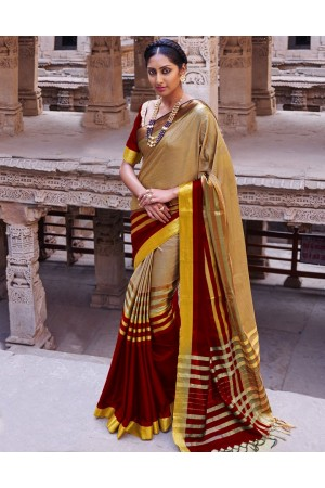 Abhirati Lambent Maroon Wedding Wear Cotton Saree