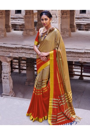 Abhirati Lipstick Red Wedding Wear Cotton Saree