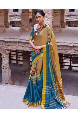 Abhirati Pacific Blue Wedding Wear Cotton Sarees