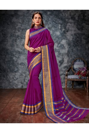 Aditi Wine Cotton Saree