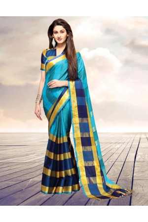 Areesa Aqua Party Wear Cotton Saree