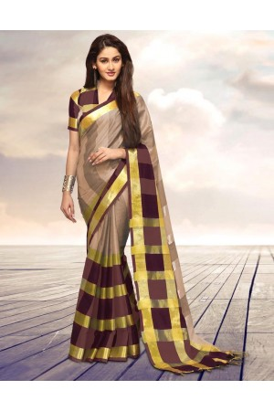 Areesa Fawn Party Wear Cotton Saree