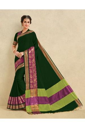 Arianna Emerald Green Cotton Designer Saree