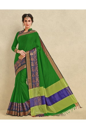 Arianna Lush Green Cotton  Designer Saree