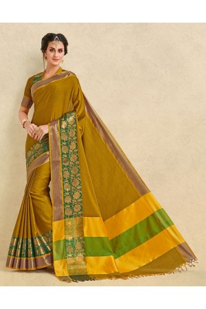 Arianna Mustard Yellow Cotton Designer Saree
