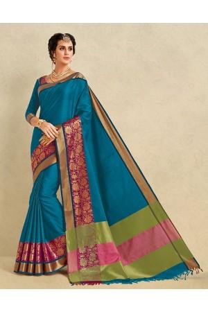 Arianna Peacock Blue Cotton Designer Saree