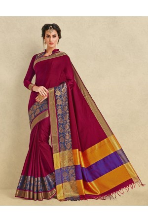 Arianna Ruby Pink Cotton Designer Saree