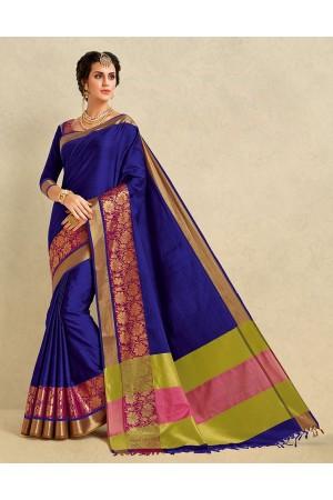 Arianna Sapphire Blue Cotton Designer Saree