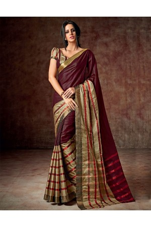 Arohi Festive Maroon Cotton Saree