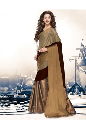 Aryaa Browny Beige Party Wear Cotton Saree