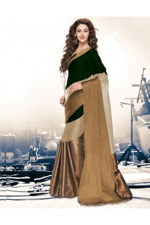 Aryaa Ginger Green Party Wear Cotton Saree