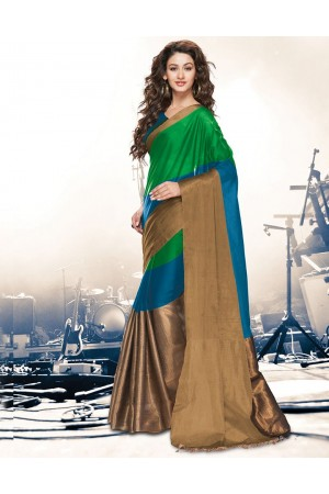 Aryaa Peacock Green Party Wear Cotton Saree