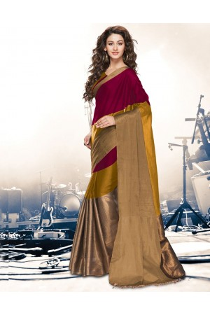 Aryaa Ruby Mustard Party Wear Cotton Saree
