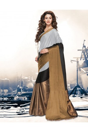 Aryaa Smoky Grey Party Wear Cotton Saree