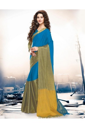 Aryaa Turquiose  Party Wear Cotton Saree
